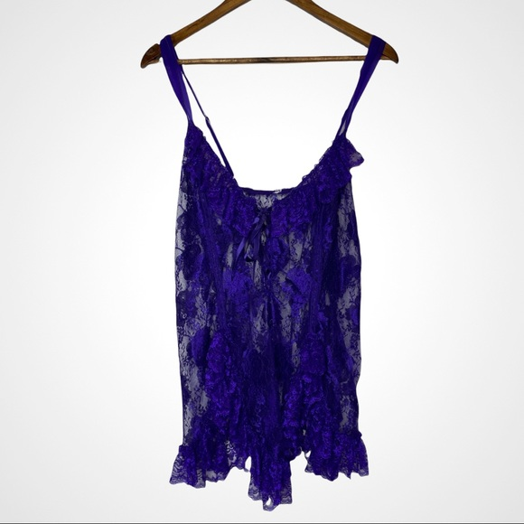 Vintage lace up teddy nighty purple lace women's size XL